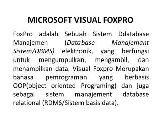 MICROSOFT VISUAL FOXPRO