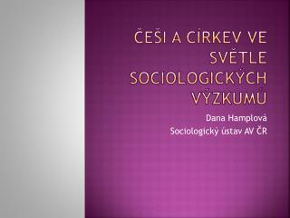 Češi a církev ve světle sociologických výzkumů