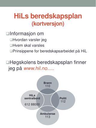 HiLs  beredskapsplan (kortversjon)