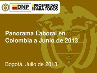 Panorama Laboral en Colombia a Junio de 2013