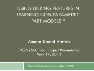 Using linking features in learning Non-parametric part models *