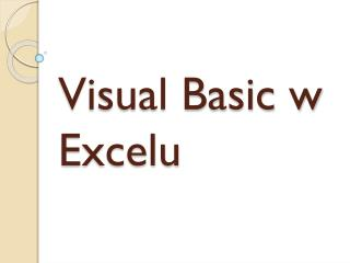 Visual Basic w Excelu
