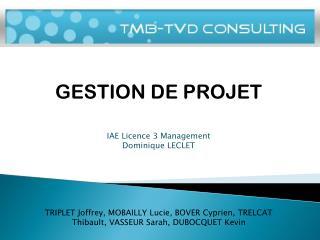 GESTION DE PROJET IAE Licence 3 Management Dominique LECLET
