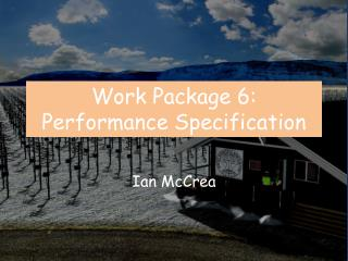 Work Package 6: Performanc e Specification