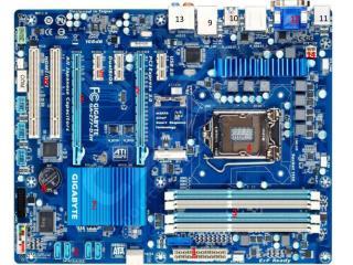 napájení desky SATA slot pro  o.pamět socket  1155 pro procesor PCIe PCI Severní most Baterka
