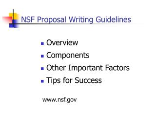 NSF Proposal Writing Guidelines