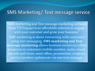 SMS marketing and Text marketing campaigns provided by TXTIm