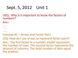 Sept. 5, 2012    Unit 1