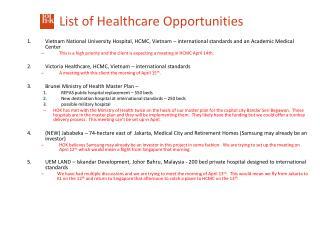 List of Healthcare Opportunities