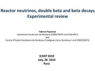 Reactor  neutrinos, double beta and beta  decays Experimental review