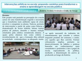 Bolsistas: Andreia Andrade e  Edielly  de Araújo