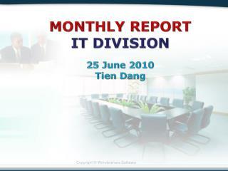 MONTHLY REPORT IT DIVISION 25 June 2010 Tien Dang