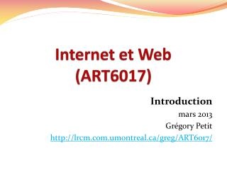 Internet et Web (ART6017)