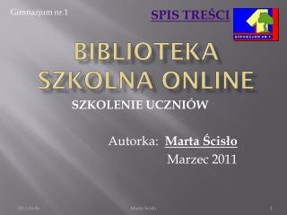 Biblioteka szkolna  online