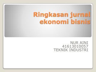 Ringkasan jurnal ekonomi bisnis