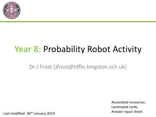 Year 8:  Probability Robot Activity