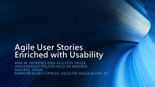Agile User Stories Enriched with Usability
