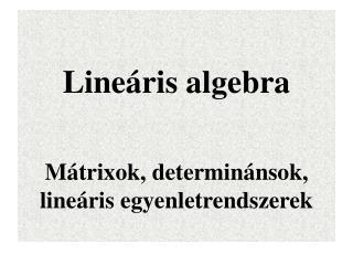 Lineáris algebra Mátrixok, determinánsok, lineáris egyenletrendszerek