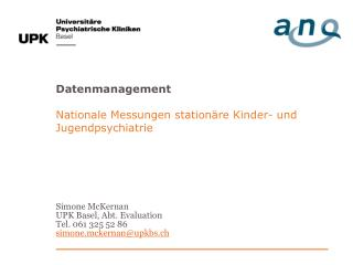 Datenmanagement Nationale Messungen stationäre Kinder- und Jugendpsychiatrie