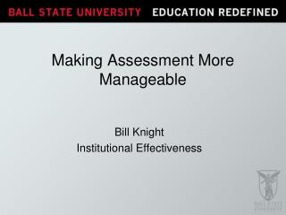 Making Assessment More Manageable