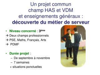 Niveau concerné  :  3 ème    Deux champs professionnels PSE, Maths, Français, Arts    PDMF