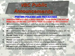 VBC Public Announcements