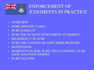 ENFORCEMENT OF JUDGMENTS IN PRACTICE