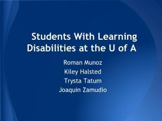 Students With Learning Disabilities at the U of A