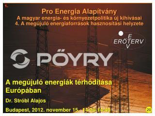 A megújuló energiák térhódítása Európában Dr. Stróbl Alajos