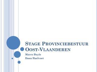 Stage Provinciebestuur Oost-Vlaanderen