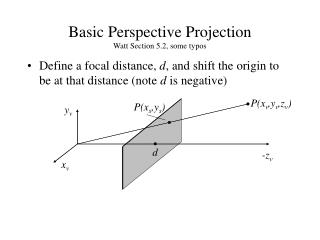 Basic Perspective Projection Watt Section 5.2, some typos