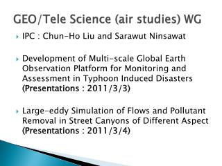 GEO/Tele  Science (air  studies ) WG
