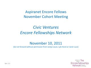 Aspiranet  Encore Fellows November Cohort Meeting Civic Ventures Encore Fellowships Network