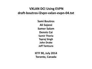 VXLAN DCI Using EVPN