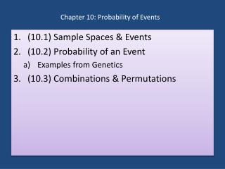 Chapter  10:  Probability of Events
