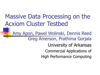Massive Data Processing on the Acxiom Cluster Testbed