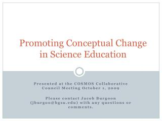 Promoting Conceptual Change in Science Education
