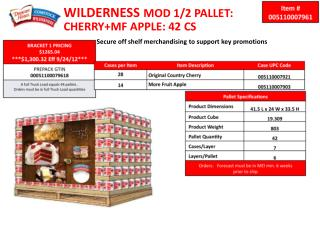 WILDERNESS MOD 1/2 PALLET:  CHERRY+MF APPLE: 42 CS