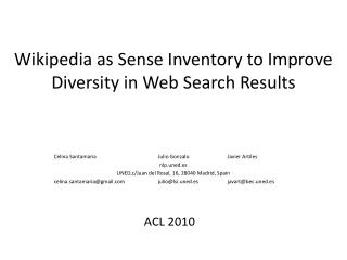 Wikipedia as Sense Inventory to Improve Diversity in Web Search Results