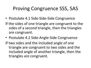 Proving Congruence SSS, SAS