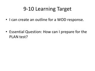 9-10 Learning Target