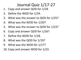 Journal Quiz 1/17-27