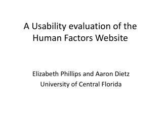 A Usability evaluation of the Human Factors Website