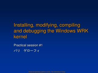 Installing, modifying, compiling and debugging the Windows WRK kernel