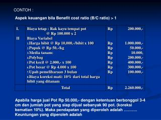 Aspek keuangan bila Benefit cost ratio (B/C ratio) > 1