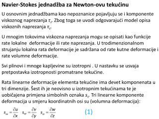 Navier - Stokes  jednadžba za Newton-ovu tekućinu