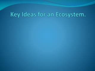 Key Ideas for an Ecosystem.