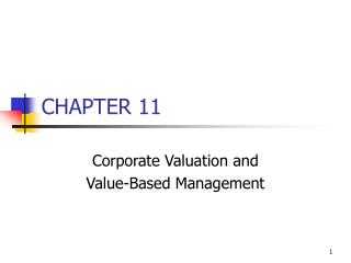 Corporate Valuation and  Value-Based Management