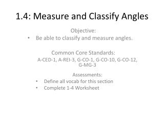 1.4: Measure and Classify Angles