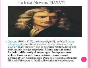 sır  Issac  Newton  HAYATI